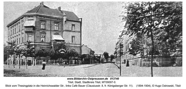 Tilsit, Blick vom Thesingplatz in die Heinrichswalder Str., links Café Bauer (Clausiusstr. 8, fr. Königsberger Str. 11)