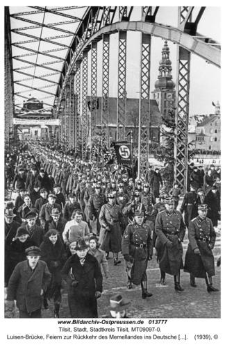 Tilsit, Luisen-Brücke, Feiern zur Rückkehr des Memellandes ins Deutsche Reich
