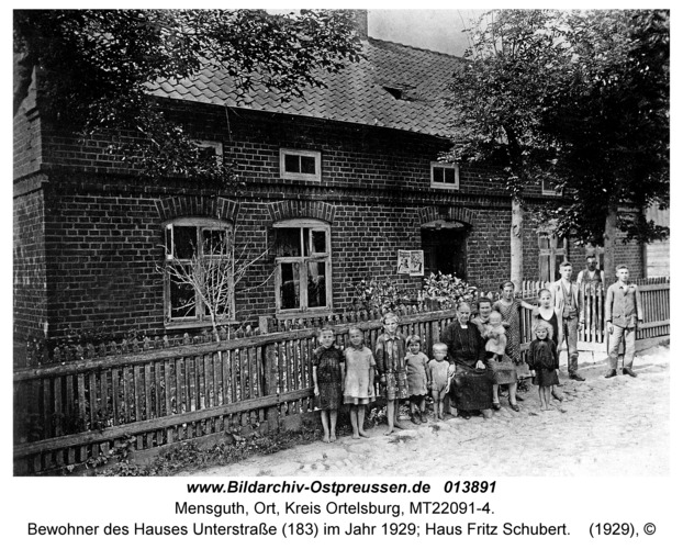 Mensguth, Bewohner des Hauses Unterstraße (183) im Jahr 1929; Haus Fritz Schubert