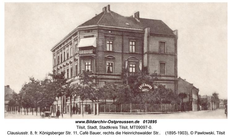 Tilsit, Clausiusstr. 8, fr. Königsberger Str. 11, Café Bauer, rechts die Heinrichswalder Str.