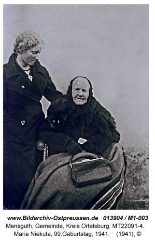 Mensguth, Marie Niekuta, 99.Geburtstag, 1941