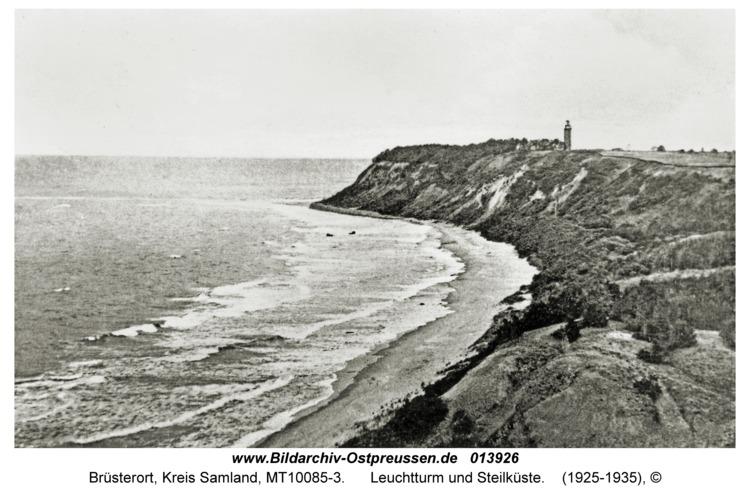 Brüsterort, Leuchtturm und Steilküste