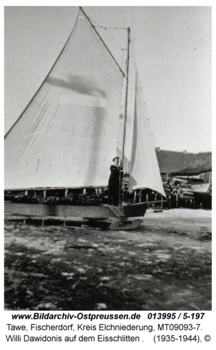 Tawe, Willi Dawidonis auf dem Eisschlitten