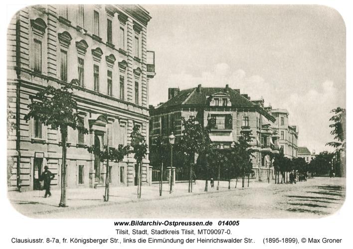 Tilsit, Clausiusstr. 8-7a, fr. Königsberger Str., links die Einmündung der Heinrichswalder Str.