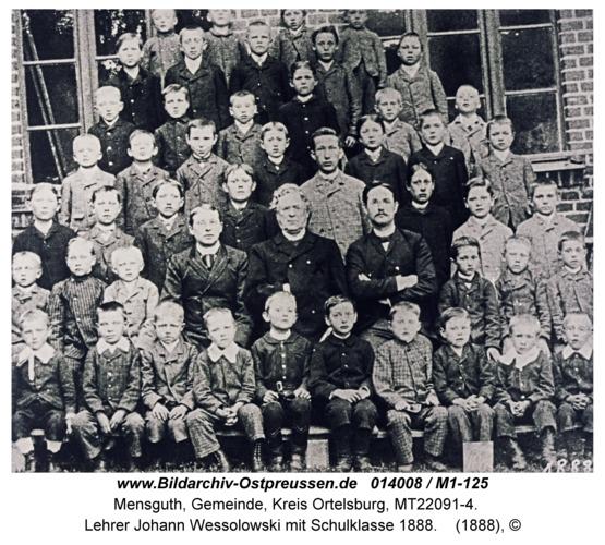 Mensguth, Lehrer Johann Wessolowski mit Schulklasse 1888