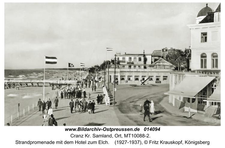 Cranz, Strandpromenade mit dem Hotel zum Elch