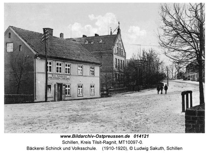 Schillen, Bäckerei Schinck und Volksschule