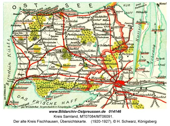 Samland, Der alte Kreis Fischhausen, Übersichtskarte