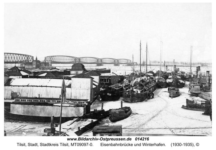 Tilsit, Eisenbahnbrücke und Winterhafen