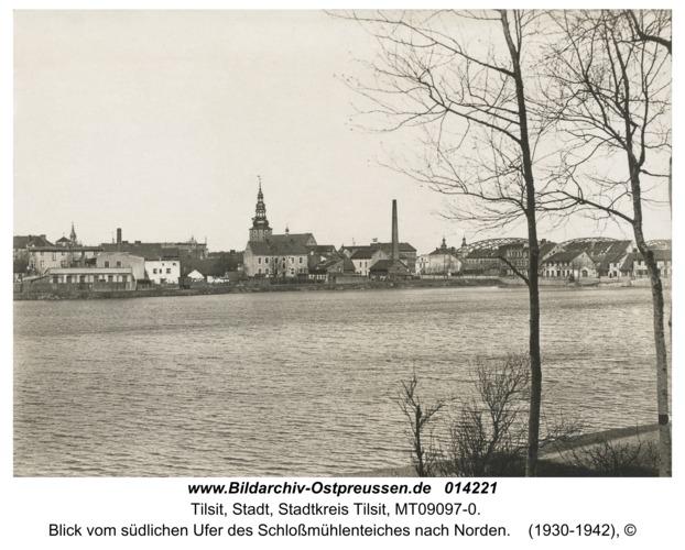 Tilsit, Blick vom südlichen Ufer des Schloßmühlenteiches nach Norden
