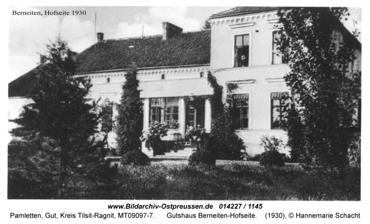 Pamletten-Gut, Gutshaus Berneiten-Hofseite