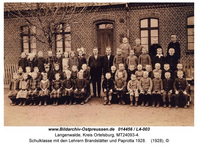 Langenwalde, Schulklasse mit den Lehrern Brandstätter und Paprotta 1928