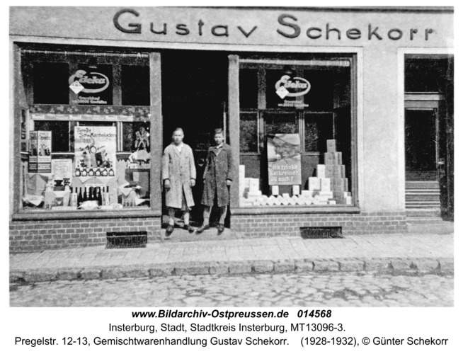 Insterburg, Pregelstr. 12-13, Gemischtwarenhandlung Gustav Schekorr