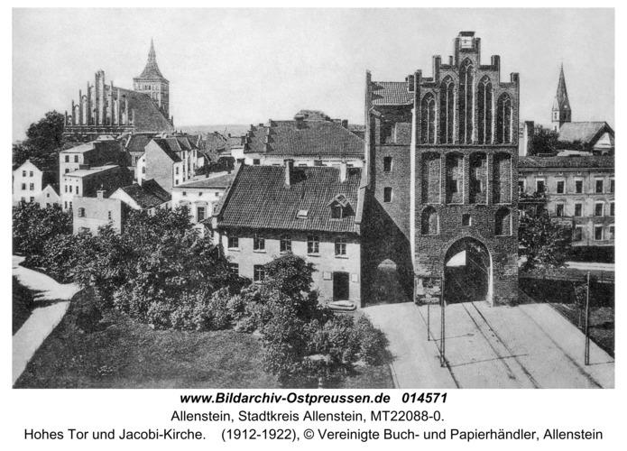 Allenstein, Hohes Tor und Jacobi-Kirche