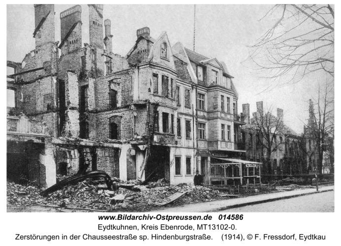 Eydtkau, Zerstörung in der Chausseestraße sp. Hindenburgstraße