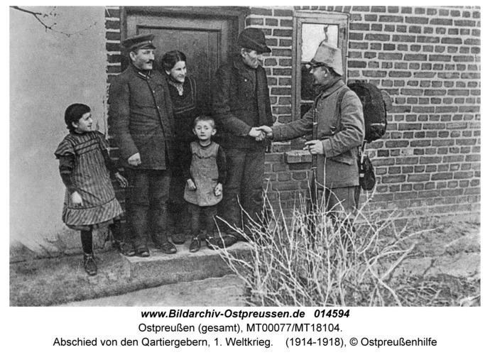 Ostpreußen, Abschied von den Quartiergebern, 1. Weltkrieg