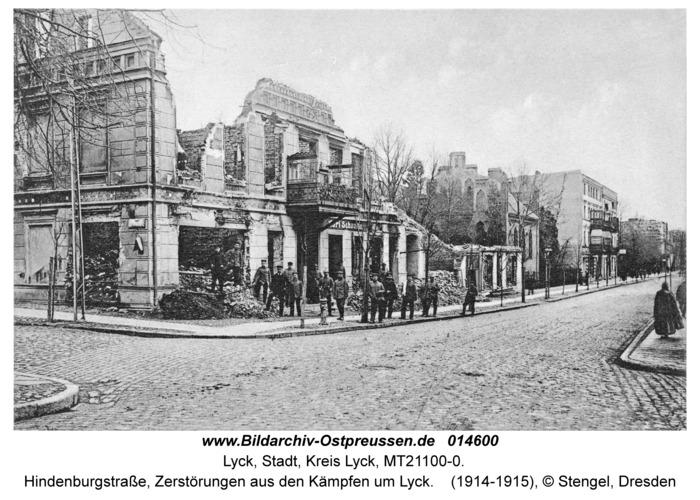 Lyck, Hindenburgstraße, Zerstörungen aus den Kämpfen um Lyck