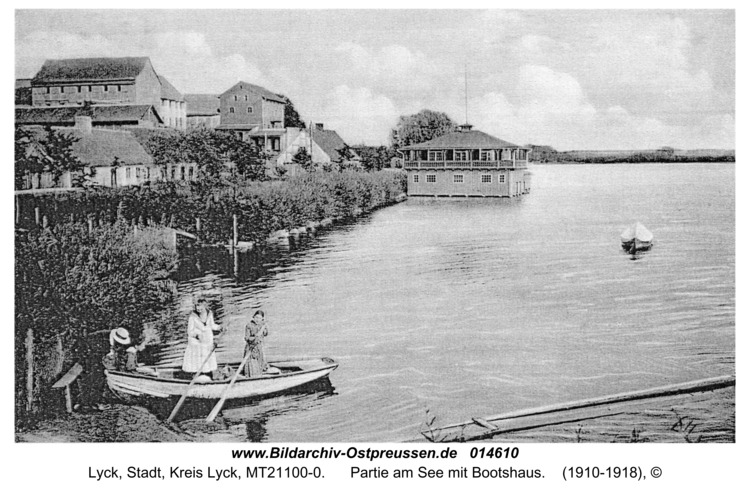 Lyck, Partie am See mit Bootshaus