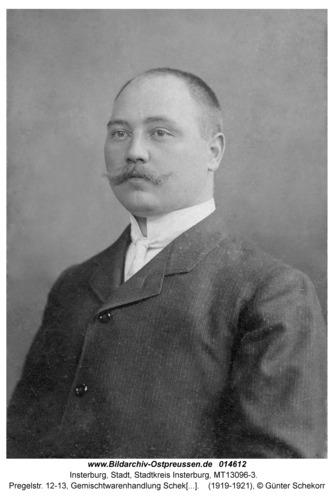 Insterburg, Pregelstr. 12-13, Gemischtwarenhandlung Schekorr, Geschäftsinhaber Gustav Schekorr