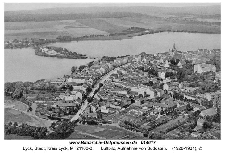 Lyck, Luftbild, Aufnahme von Südosten