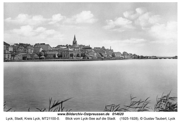 Lyck, Blick vom Lyck-See auf die Stadt