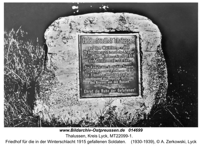 Talussen, Friedhof der in der Winterschlacht 1915 gefallenen Soldaten
