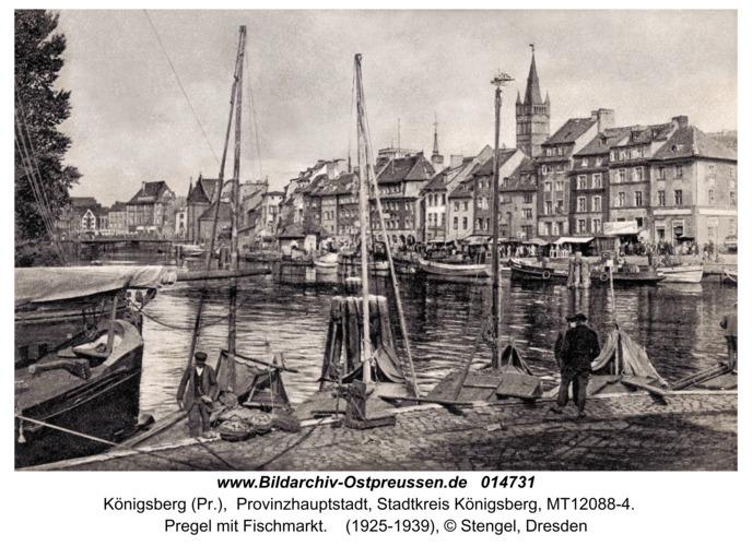 Königsberg, Pregelpartie mit Fischmarkt