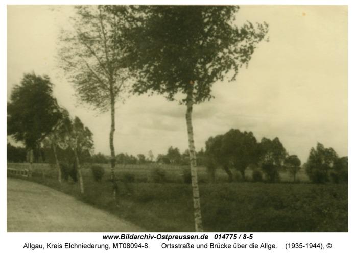 Allgau, Ortsstraße und Brücke über die Allge