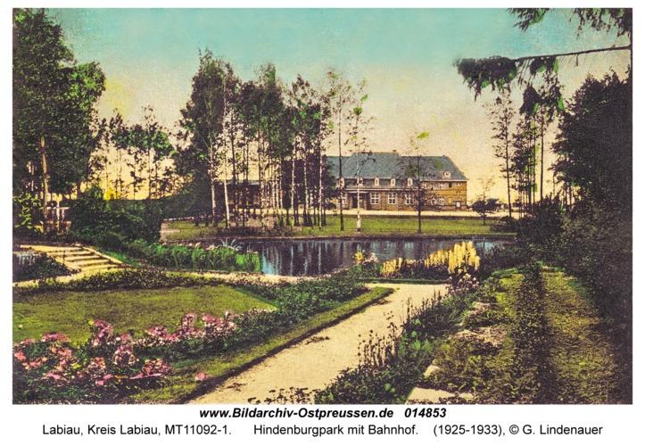 Labiau, Hindenburgpark mit Bahnhof