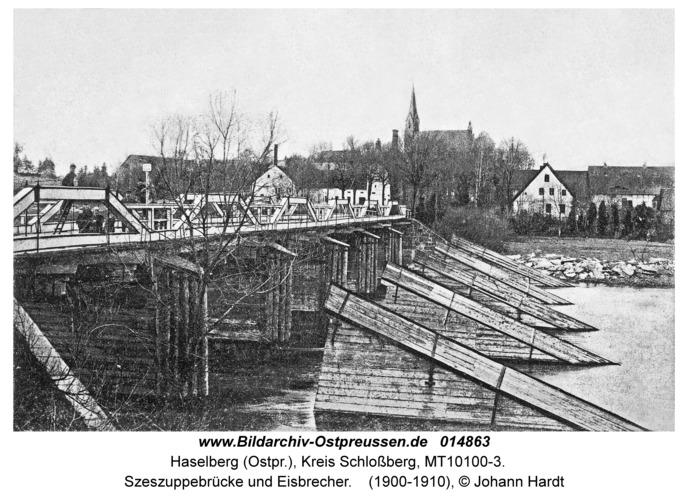 Haselberg, Szeszuppebrücke und Eisbrecher