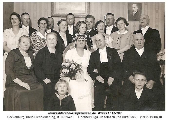 Seckenburg, Hochzeit Olga Kieselbach und Kurt Block