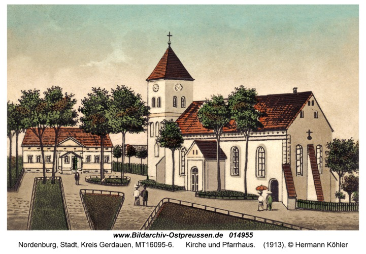 Nordenburg, Kirche und Pfarrhaus