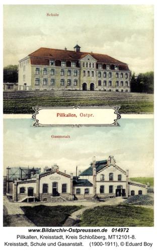 Schloßberg, Kreisstadt, Schule und Gasanstalt