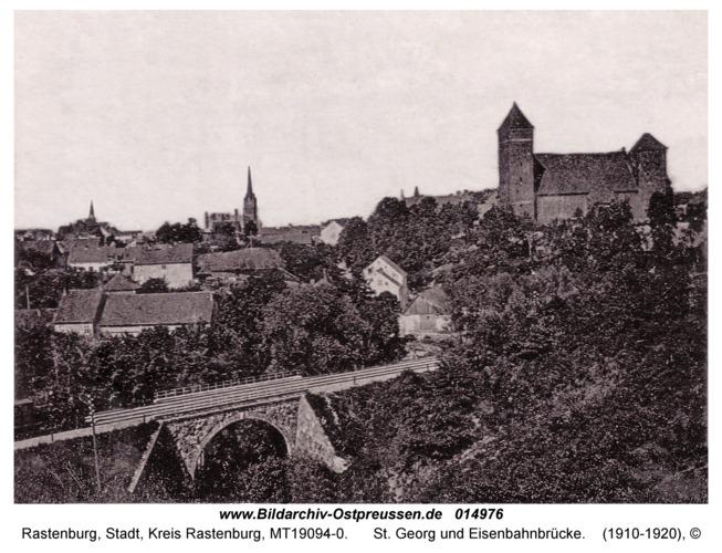 Rastenburg, St. Georg und Eisenbahnbrücke