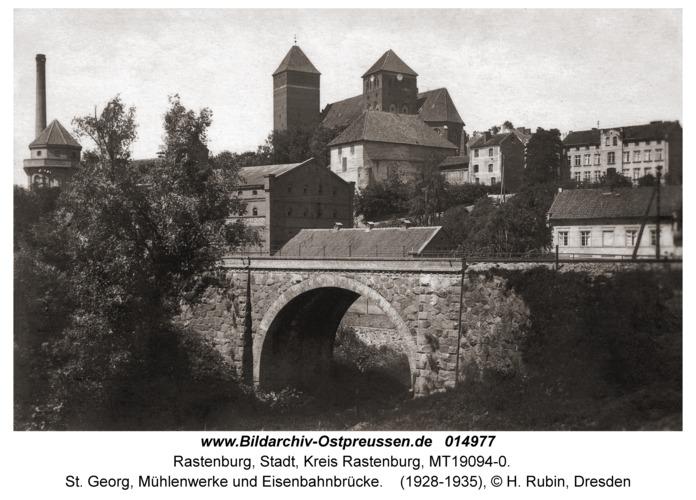 Rastenburg, St. Georg, Mühlenwerke und Eisenbahnbrücke