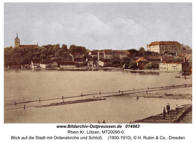 Rhein Kr. Lötzen, Blick auf die Stadt mit Ordenskirche und Schloß