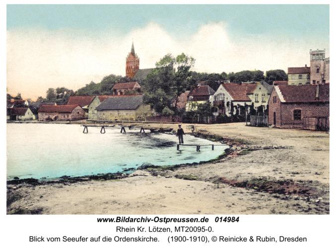 Rhein Kr. Lötzen, Blick vom Seeufer auf die Ordenskirche