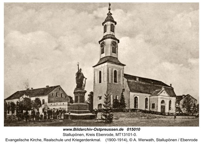 Ebenrode, Evangelische Kirche, Realschule und Kriegerdenkmal