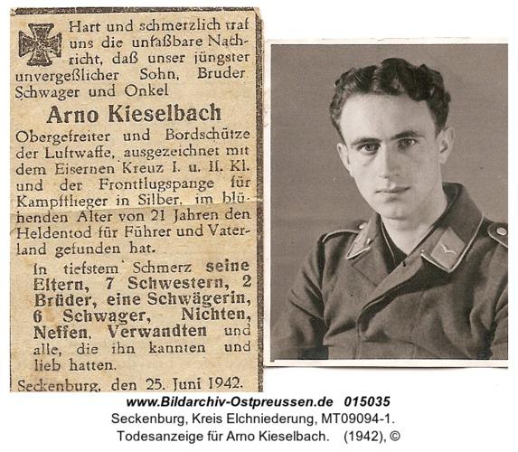 Seckenburg, Todesanzeige für Arno Kieselbach