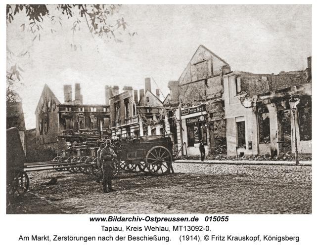 Tapiau, Am Markt, Zerstörungen nach der Beschießung