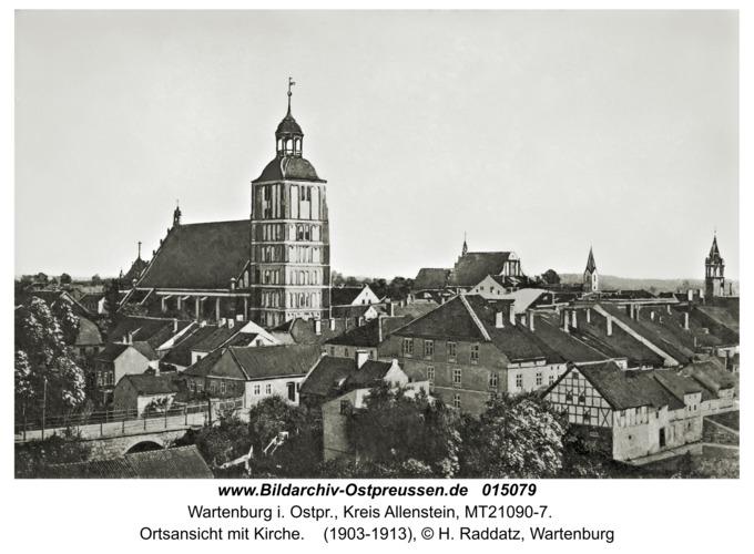 Wartenburg Kr. Allenstein, Ortsansicht mit Kirche
