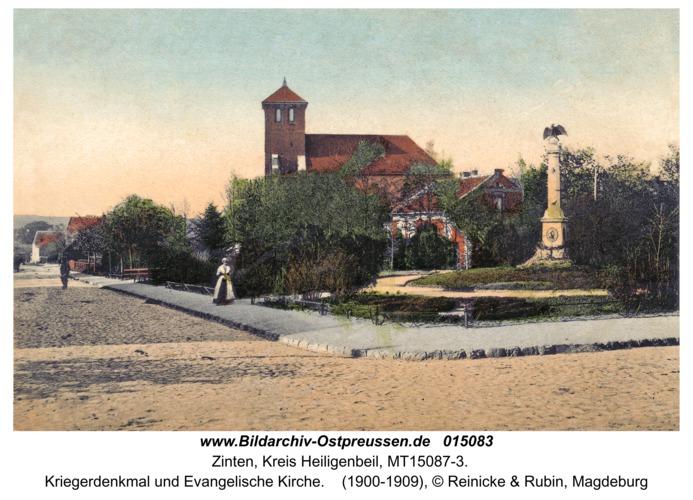 Zinten, Kriegerdenkmal und Evangelische Kirche