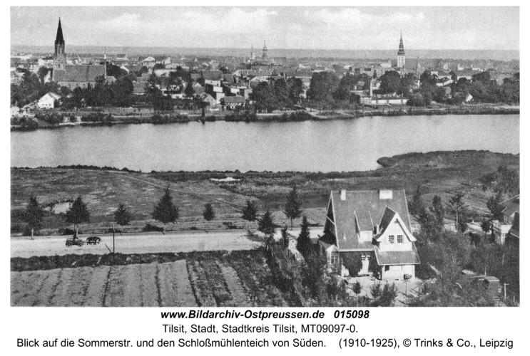 Tilsit, Blick auf die Sommerstr. und den Schloßmühlenteich von Süden