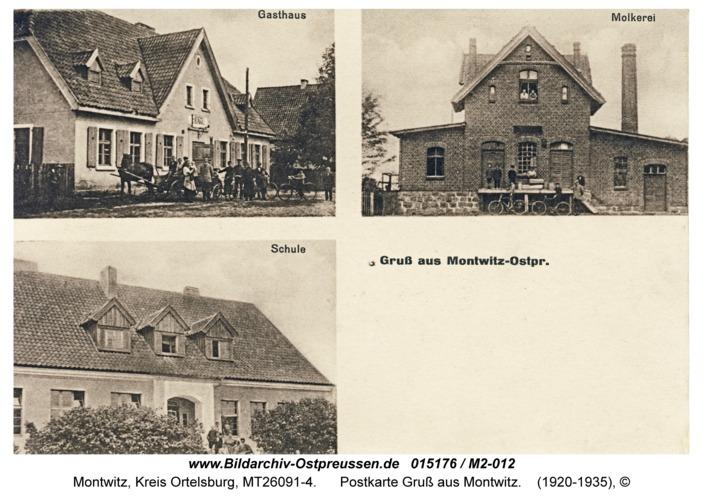 Montwitz, Postkarte Gruß aus Montwitz