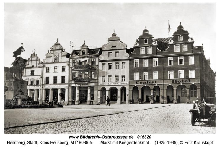 Heilsberg Kr. Heilsberg, Markt mit Kriegerdenkmal