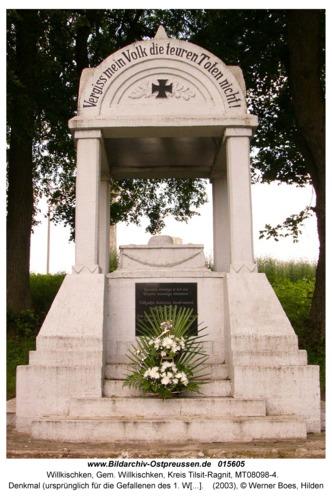 Willkischken, Denkmal (ursprünglich für die Gefallenen des 1. Weltkrieges)