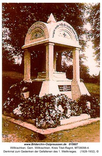 Willkischken, Denkmal zum Gedenken der Gefallenen des 1. Weltkrieges