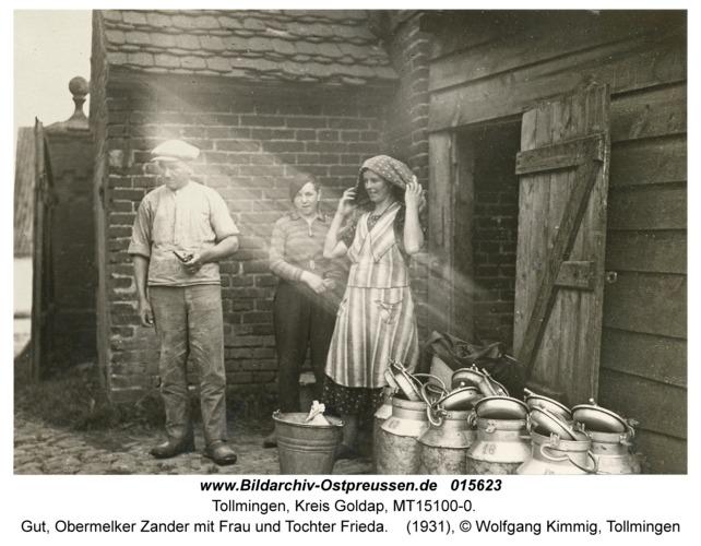 Tollmingen, Gut, Obermelker Zander mit Frau und Tochter Frieda