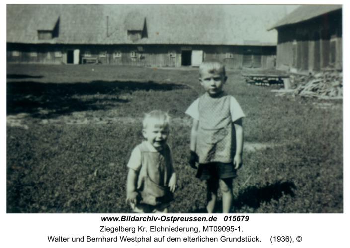 Ziegelberg, Walter und Bernhard Westphal auf dem elterlichen Grundstück