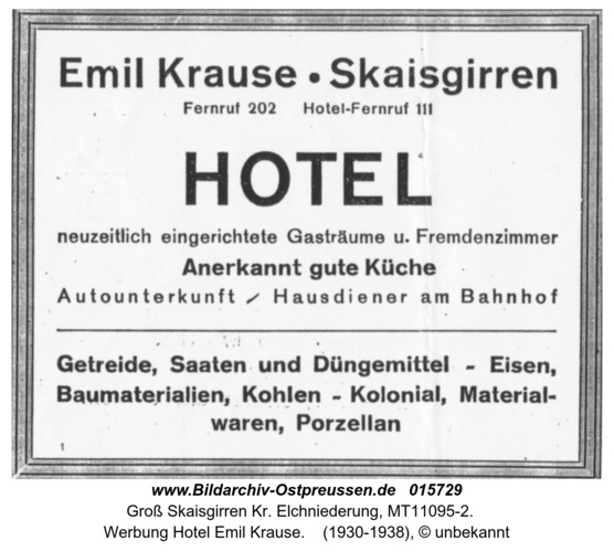 Kreuzingen, Werbung Emil Krause